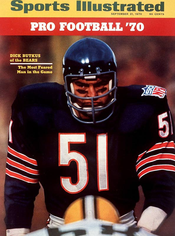 A Hall of Famer and one of the greatest linebackers of all time, Dick Butkus had his reputation as the most feared man in football sealed by this SI cover. During the 1970 season, Butkus recorded 132 tackles, three interceptions and recovered two fumbles.