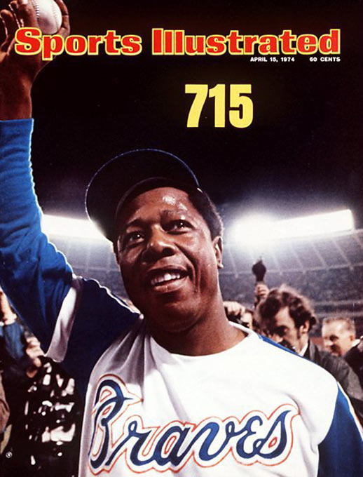 """Hank Aaron leapfrogged Babe Ruth and became the all-time home run king in April 1974 with a round-tripper against the Dodgers' Al Downing. One of the best-known numbers in sports, """"715"""" was all it took to mark the occasion."""