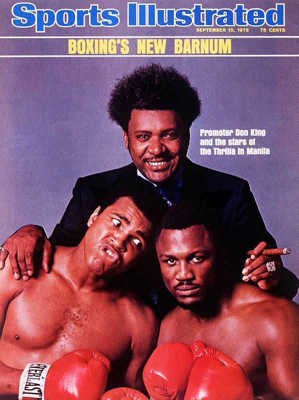 The third and final bout between Muhammad Ali and Joe Frazier -- better known as The Thrilla in Manilla --  was marketed and broadcast worldwide by Don King. After the duo's first two bouts went 15 grueling rounds (each fighter winning one), the final bout ended in the 14th with Ali winning by TKO.
