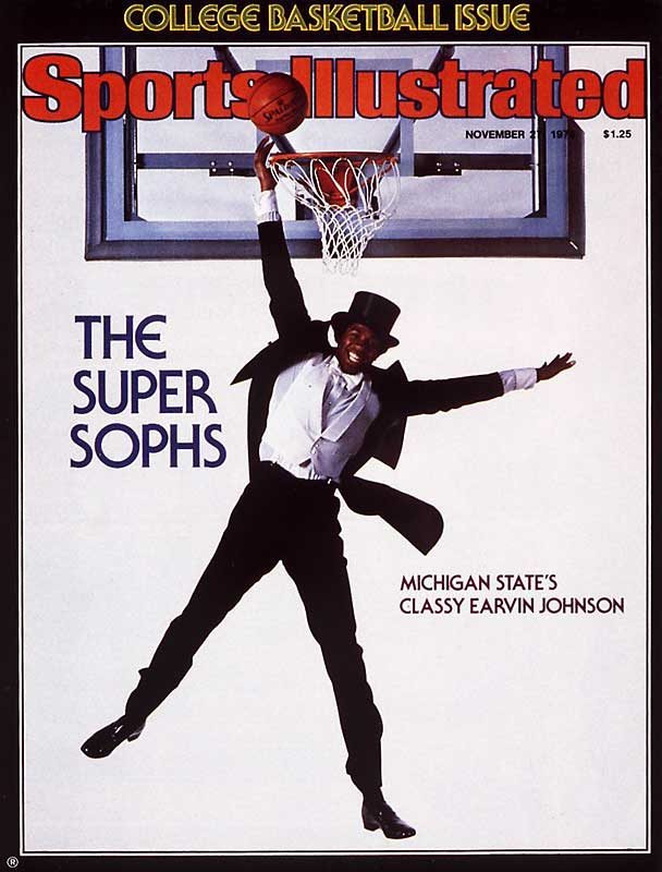 Magic Johnson appears on 22 covers, but none as unique as his first one, in which the 6-foot-9 Michigan State forward is shooting (and what looks like missing) a layup in full tuxedo and top hat.