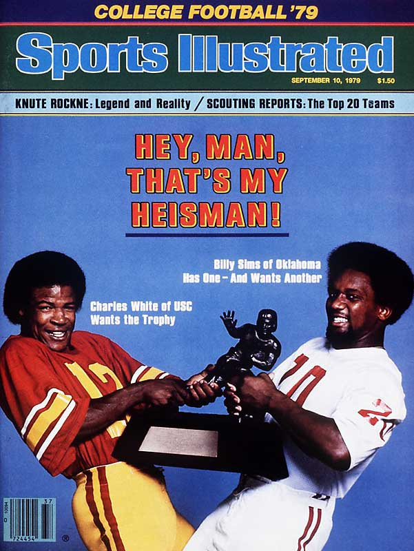 As the 1979 college football season began, the Heisman was a two-man race between USC's Charles White and Oklahoma's Billy Simms. By the end of the season, White, who averaged 194.1 rushing yards per game, was the clear winner, earning 1,695 Heisman votes compared to runner-up Sims, who received 773.