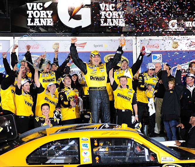 "Matt Kenseth celebrates in victory lane after winning the shortened Daytona 500. ""Man, I don't know,"" he said afterward. ""Winning the Daytona 500 is definitely a dream moment. It's just an unbelievable feeling."""