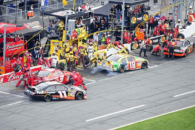 Kyle Busch, who led a race-high 88 laps, pulls out of the pit. Busch's day ended early when he was knocked out of the race by the nine-car pileup triggered by Earnhardt and Vickers.