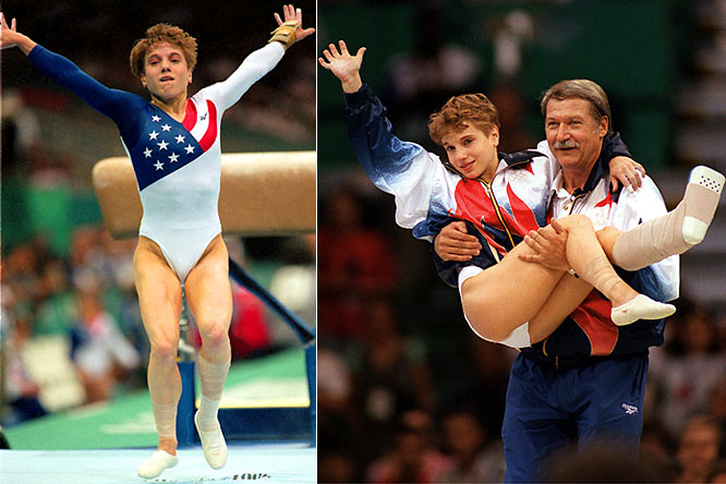 A member of five world-championship teams, Strug was the youngest member, at 14, of the 1992 U.S. bronze-medal-winning Olympic gymnastics team. Her defining moment came at the 1996 Atlanta Olympics when she clinched the gold medal for the U.S. by landing her final vault attempt on a sprained left ankle.  Worthy of consideration: Michele Mitchell and Yuliana Perez.