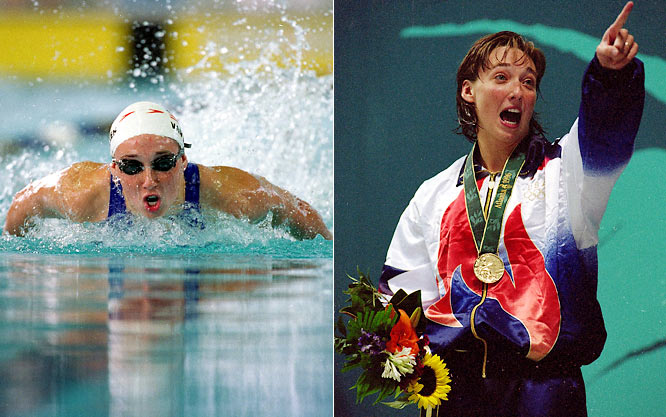 A six-time Olympic gold medalist, Van Dyken won four gold medals at the '96 Games, becoming the first American woman to do so. She won gold in two relays (400-meter freestyle, 400-meter medley) and two individual events (100-meter butterfly, 50-meter freestyle). She added two more relay gold medals in 2000.  Worthy of consideration: Tanya Haave, April Heinrichs and Wendy Lucero-Schayes.