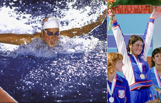After establishing world records in the 100- and 200-meter butterfly at the U.S. Long Course National Championships in 1981, Meagher collected three gold medals at the '84 Olympics in the 100- and 200-meter fly and 4x100 medley relay.  Worthy of consideration: Tamara McKinney.