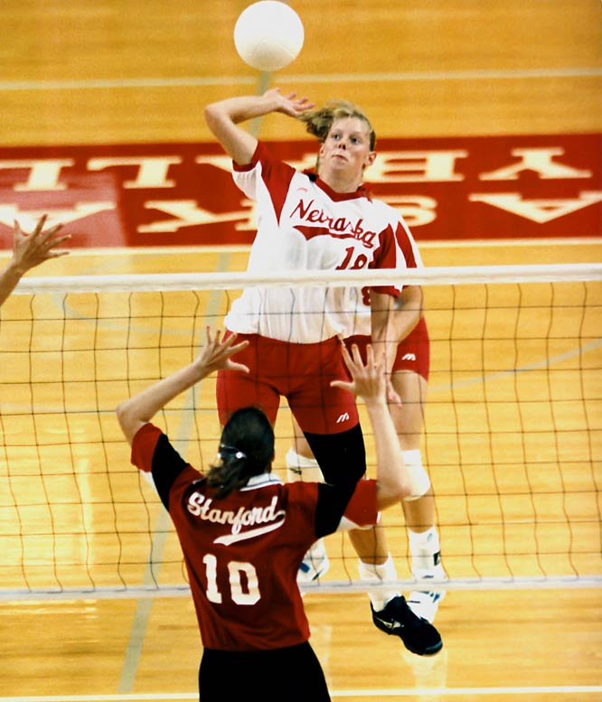 The first female selected for the Omaha Sports Hall of Fame, Weston was the Nebraska Cornhuskers first three-time, first-team All-American and helped the U.S. to the bronze medal match at the Sydney Olympics. One of the greatest collegiate outside hitters of all-time, she was named co-National Player of the year in 1995. As a Nebraska prep star, she was two-time Super State in volleyball and basketball, All-State in soccer and qualified for the state track meet..  Worthy of consideration: Carol Moseke Frost, Louise Pond, Julie Vollertsen.