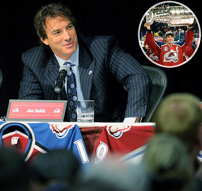 """Sakic announced his retirement in the same room of a Denver hotel where John Elway did. Only fitting, since both were icons in the Mile High City. A 20-year veteran, Sakic wore the captain's """"C"""" for 16 straight seasons and guided the Colorado Avalanche to Stanley Cup titles in 1996 and 2001, won league MVP honors in 2001, was a 13-time All-Star and led Canada to an Olympic gold medal in 2002."""