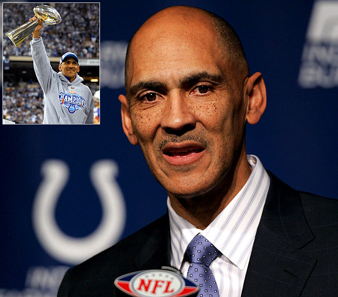 Tony Dungy retired after seven years as the head coach of the Indianapolis Colts. The announcement capped a 31-year NFL career, which started with Dungy winning a Super Bowl ring as a player in Pittsburgh and ended two years after he became the first black coach to hoist the Lombardi Trophy. Dungy amassed a 148-79 record, and retired as the career wins leader in both Tampa and Indianapolis.