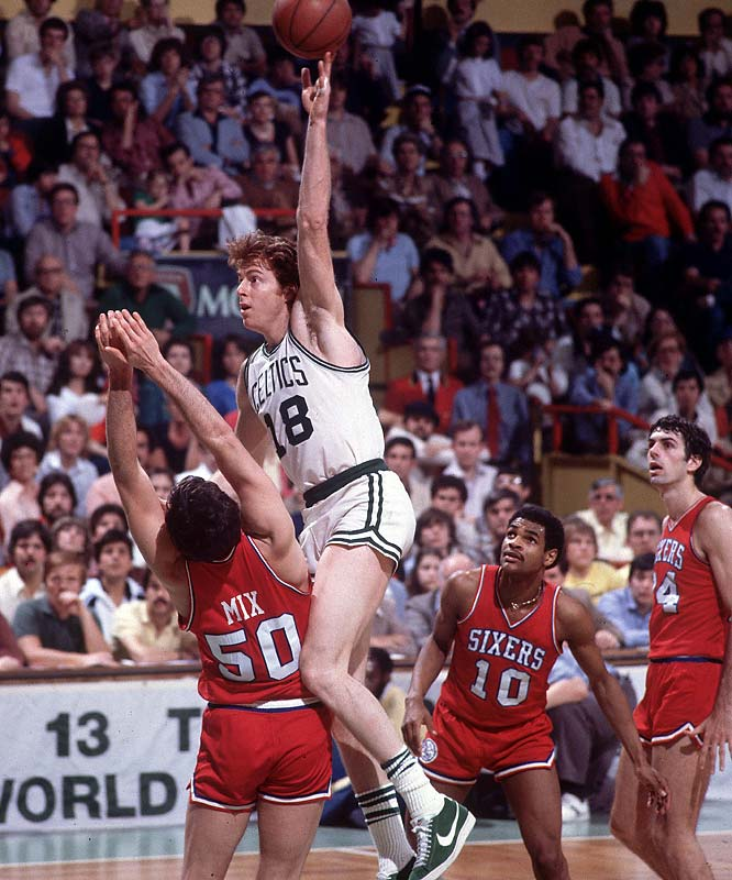 Dave Cowens shoots a sky hook over Steve Mix during the 1980 Eastern Conference Finals.
