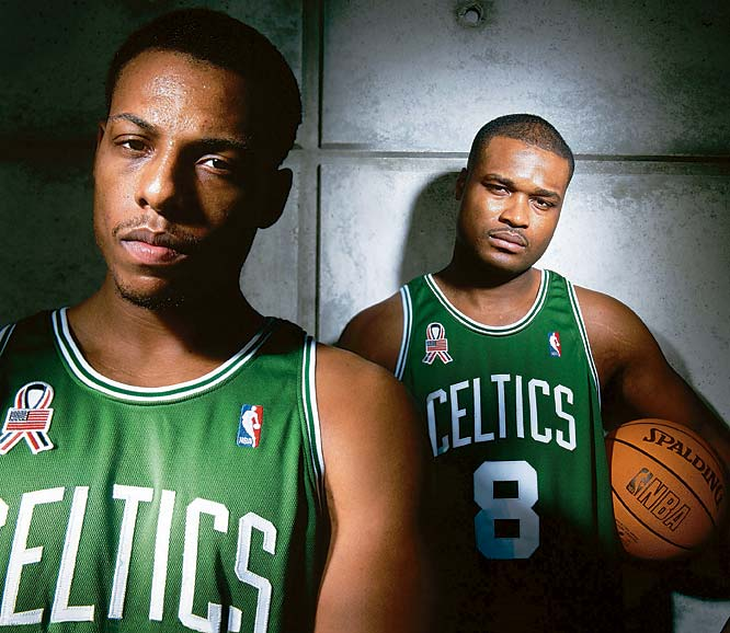 Paul Pierce and Antoine Walker stike a pose outside the Celtics' practice facility in Waltham, Mass.
