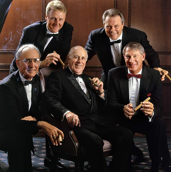 Celtics greats Bob Cousy, Larry Bird, Tom Heinsohn and John Havlicek got together to celebrate Red Auerbach's 75th birthday.