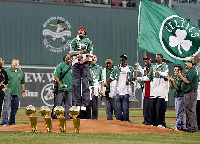 Paul Pierce celebrating the Celtics 2008 NBA Finals championship on the mound at Fenway Park.