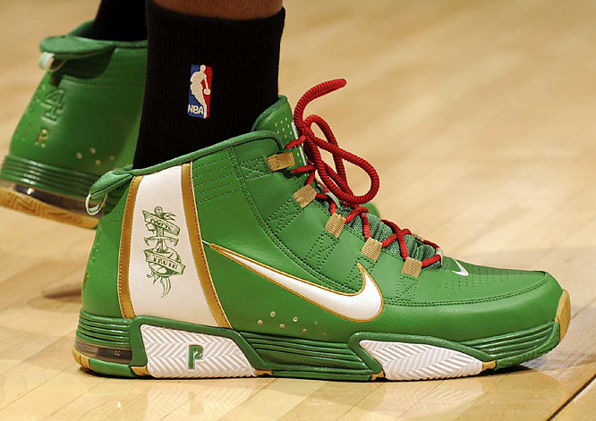 A close-up of Pierce's sneaker, taken during the 2008 NBA Finals.