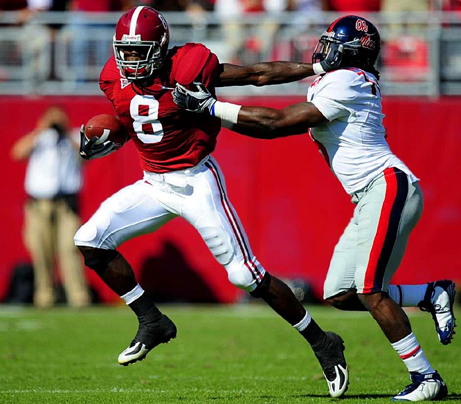 Julio Jones (pictured) was the clear standout in the nation's top class. The 6-foot-4 wide receiver hauled in 58 catches for 924 yards and four touchdowns as a true freshman in '08 while leading the Crimson Tide to the SEC title game.