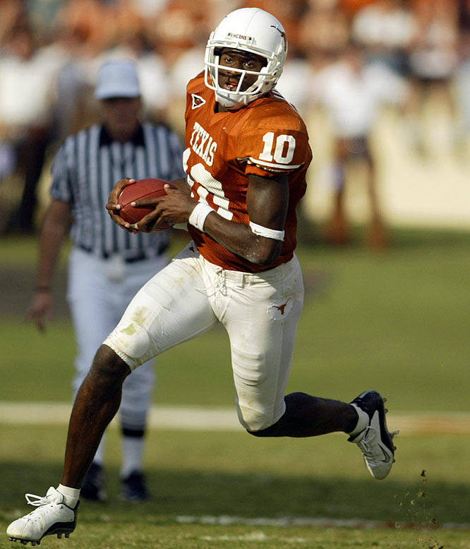 The class, led by top-ranked QB Vince Young (pictured), helped lead the Longhorns to their first BCS bowl game under Mack Brown (a 38-37 Rose Bowl win over Michigan to cap the '04 season) and led Texas to its first national championship since 1969. The '05 team not only ran the table, but, in the title game, defeated a USC team that had won 34 straight contests and boasted two Heisman Trophy winners.