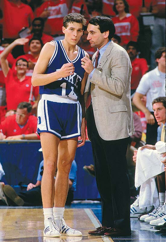 Mike Krzyzewski talks with Quin Snyder during a timeout at the 1987 Fiesta Bowl Classic.