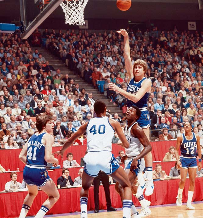 Mike Gminski shoots a sky hook during the 1980 Mid-East Regionals against Kentucky.