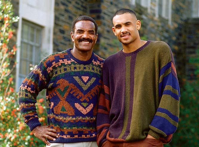 Grant Hill and his father, Calvin, strike a pose on the Duke campus.