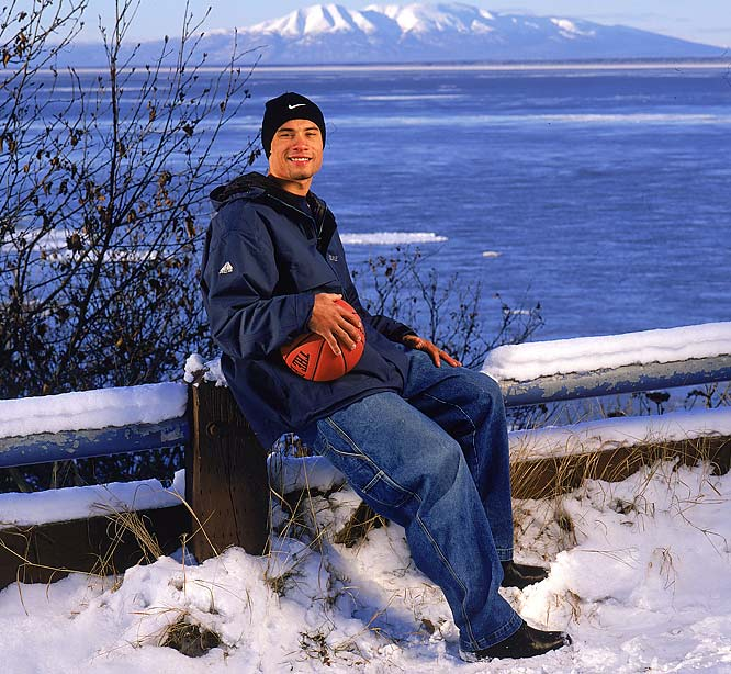 Anchorage native Trajan Langdon felt right at home when he posed for this shot at the 1998 Great Alaskan Shootout.  <br><br>Send comments to siwriters@simail.com.