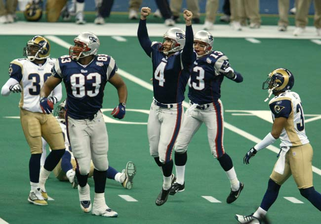 The New England Patriots defeat the St. Louis Rams, 20-17, to win Super Bowl XXXVI. It is the first Super Bowl win for the Patriots.
