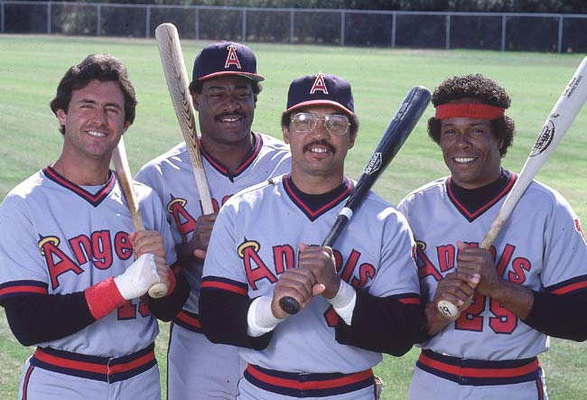 The Twins trade perennial all-star and batting champ Rod Carew (right, pictured with Fred Lynn, Don Baylor and Reggie Jackson) to the Angels for Ken Landreaux, Dave Engle, Paul Hartzell and Brad Havens.