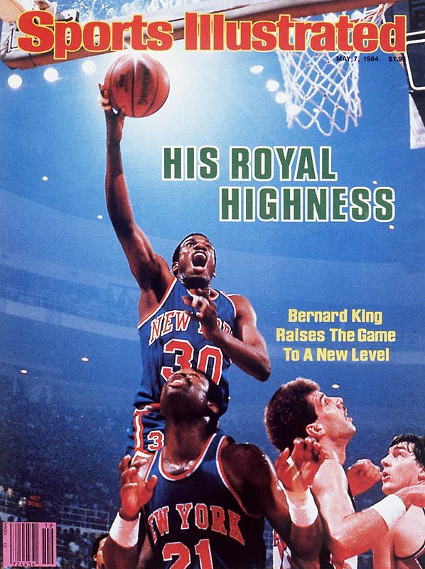 Knicks guard Bernard King heads to the hoop in the May 1984 cover.