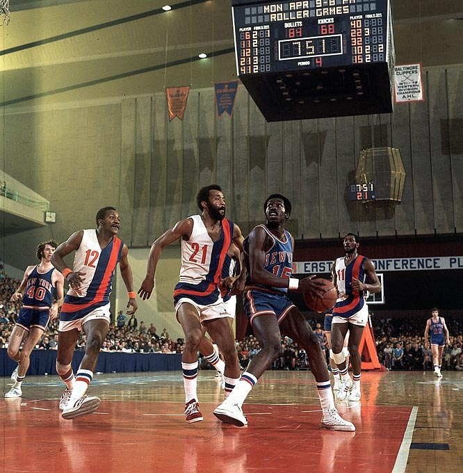 Earl Monroe looks for daylight during a game against Baltimore.
