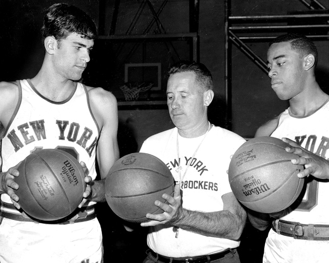 Coach McGuire welcomes Jackson and Frazier to Knicks Training Camp at McGuire Air Force Base in New Jersey. Frazier was New York's No. 1 draft choice from Southern Illinois  while Jackson of Montana State was their second pick.