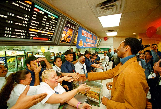 Kobe Bryant is a huge hit wherever he goes, even in a McDonalds.