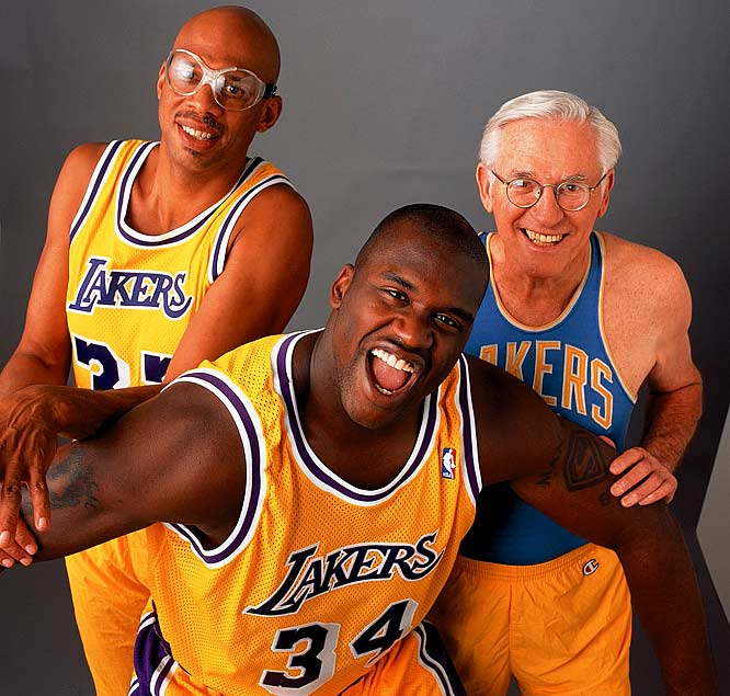 Famous Laker centers Kareem Abdul-Jabbar, Shaquille O'Neal and George Mikan pose for an SI photo shoot.