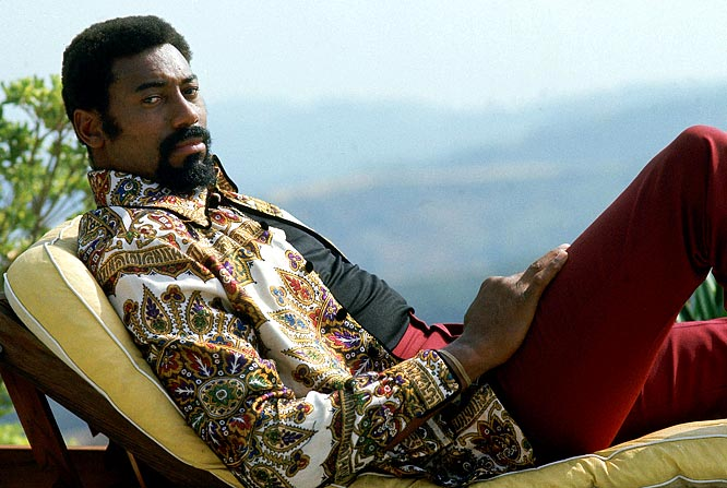 Lakers center Wilt Chamberlain relaxes in Los Angeles.
