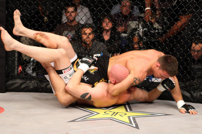 Now a fighter with Strikeforce, Jake Shields (top) owns a number of jiu-jitsu and wrestling accolades, including an Pan American Games Jiu Jitsu title and a third-place finish at the ADCC Submission Wrestling World Championship in 2005.