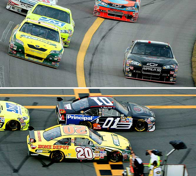 At NASCAR's restrictor plate races, you're not allowed to pass below a certain point on the race track. But for a sport based on pushing the limits of speed, it seems pretty silly to limit passing with an out-of-bounds line. The rule caused rookie Regan Smith (#01) to be stripped of his win at Talladega in October 2008 after making an aggressive move towards the track apron to muscle his way by Tony Stewart (#20).<br><br>Which NASCAR rules would you add to the list. Send comments to siwriters@simail.com.