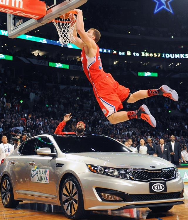 "In front of his hometown fans, Blake Griffin lived up to the hype and edged JaVale McGee to win the 2011 slam dunk title. Griffin's final and most impressive dunk of the night came when he jumped over a car and threw down a two-handed slam while a gospel choir sang ""I Believe I Can Fly"" at halfcourt."