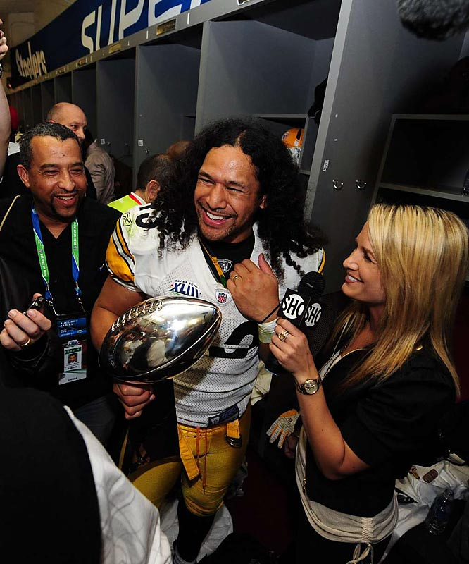 Troy Polamalu entertains the media after the Steelers victory.