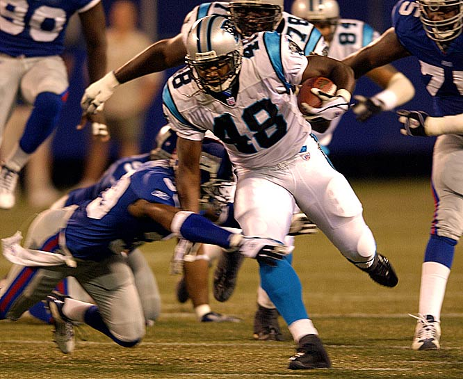 He didn't fit into Steve Spurrier's offense in Washington, but the burly running back was exactly what the Panthers needed in 2003. Davis ran for 1,444 yards and eight touchdowns to help Carolina reach Super Bowl XXXVIII, where it fell to New England.