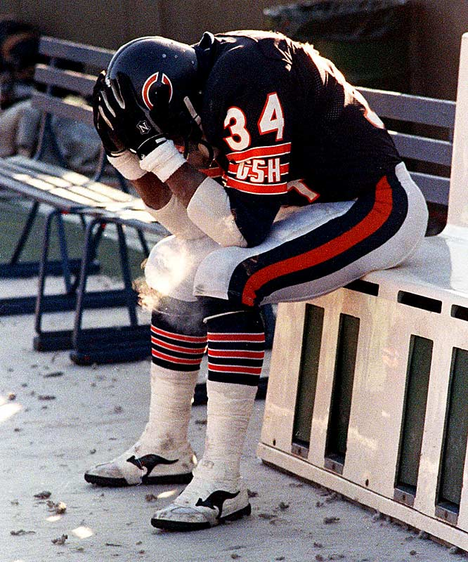 After rushing for 1,333 yards in 1986, Payton announced that he would retire at the end of the 1987 season. Shown here following the last game of his career -- a 21-17 loss to the Redskins -- Payton finished his career with 16,726 rushing yards, 110 rushing touchdowns and only one missed game in 13 seasons.