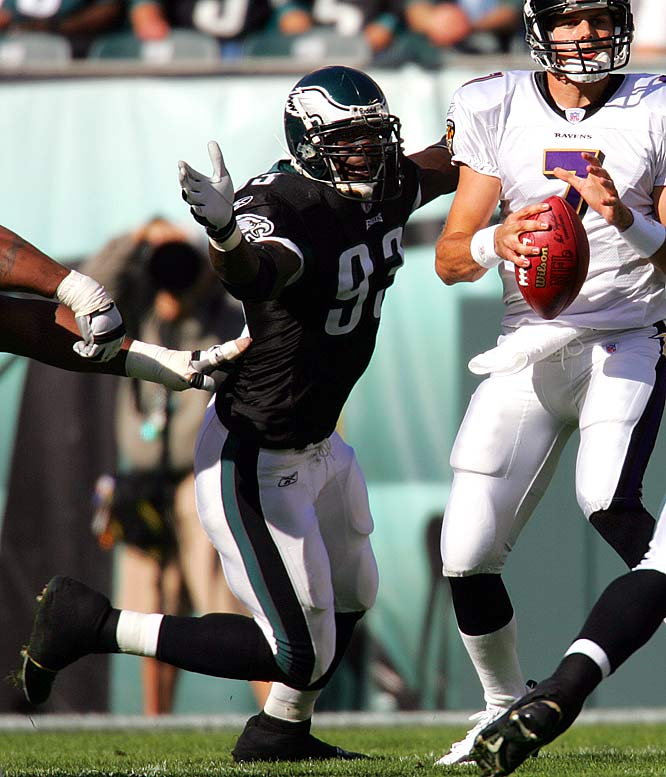 The speedy defensive end's first two years in Philadelphia were successful, but in 2006 he suffered a knee injury that limited him to just two games. Eleven games into the next season he lost the starting job to Juqua Thomas. Kearse was released in 2008, four years into his eight-year contract.