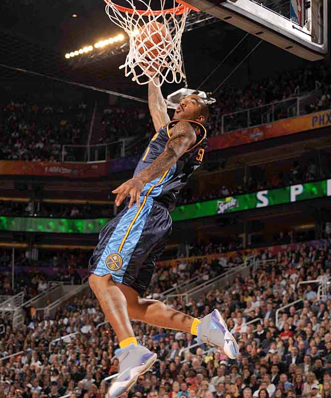 Nuggets guard J.R. Smith earned a 43 on this twisting dunk in Round 1.