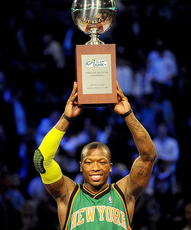 Nate Robinson brings home the gold for a second time in his three-year career. Will he be the first NBA player to win three Slam Dunk titles?