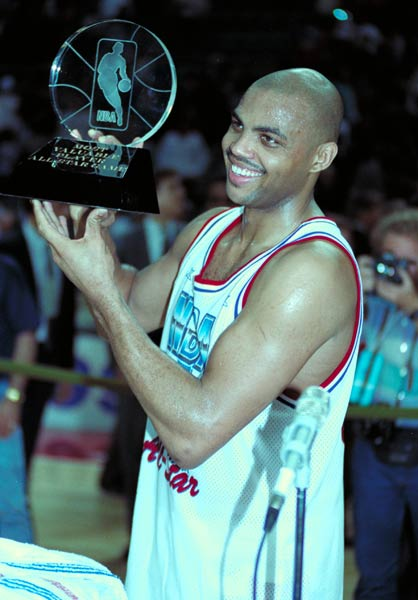 The East scores 45 second-quarter points -- the most ever scored by the East in one quarter of All-Star play -- en route to a 116-114 win over the West. Charles Barkley wins MVP honors after scoring 17 points and grabbing 22 rebounds.