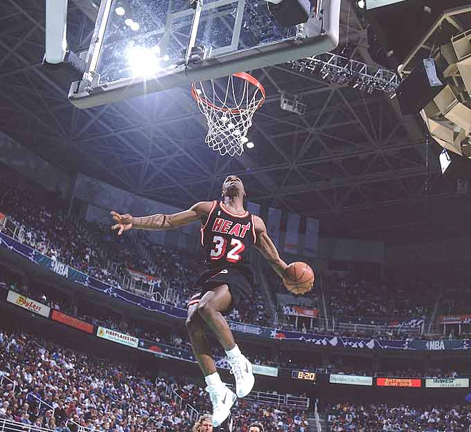 The Miami Heat become the first NBA team to have two of its players sweep the All-Star Saturday competition as Harold Miner wins the Slam Dunk Contest and Glen Rice takes first place in the Three-Point Shootout.