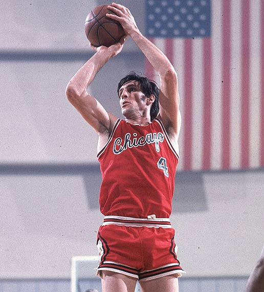Jerry Sloan becomes the first Chicago Bulls player to have his uniform retired.