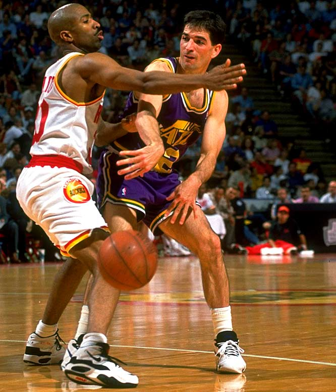 Utah's John Stockton picks up seven assists in a 105-78 loss to Houston, becoming only the fourth guard (along with Oscar Robertson, Magic Johnson and Isiah Thomas) in NBA history to reach the 8,000 career assist plateau.