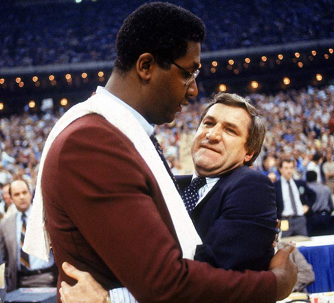 North Carolina coach Dean Smith embraces Georgetown's John Thompson after the Tar Heels defeated Georgetown for the national championship.