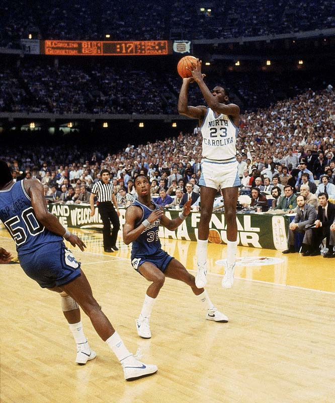 This game-winning shot at the 1982 NCAA Championship made North Carolina national champions and introduced the country to freshman  Michael Jordan.