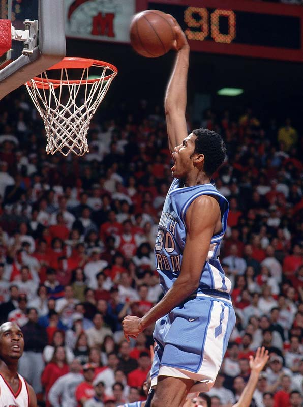 Rasheed Wallace coverts an open dunk during a game against Maryland.