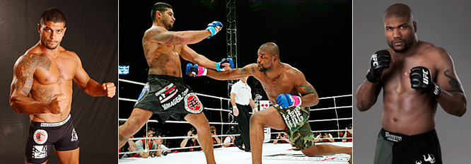 "In their 2004 Pride fight, Quinton ""Rampage"" Jackson (far right) power-bombed Ricardo Arona in the first round. It was ruled a knockout in Jackson's favor, but Arona contends it wasn't the slam that left him unconscious -- it was a clash of heads."