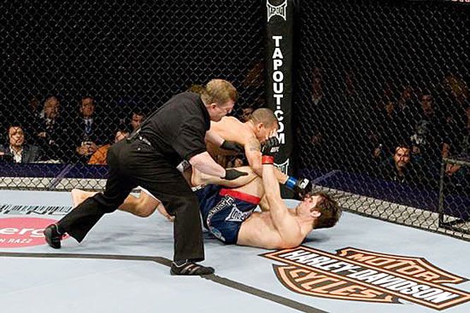 In the opening minute of their UFC 96 bout, Shane Nelson (top) dropped Aaron Riley with a hard right hand and followed with several more blows. Riley, who appeared to be clear-headed and simply working off his back, was denied the chance to fight back. Referee Rick Fike jumped in and prematurely stopped the bout 44 seconds into the round, drawing the ire of everyone in the arena.